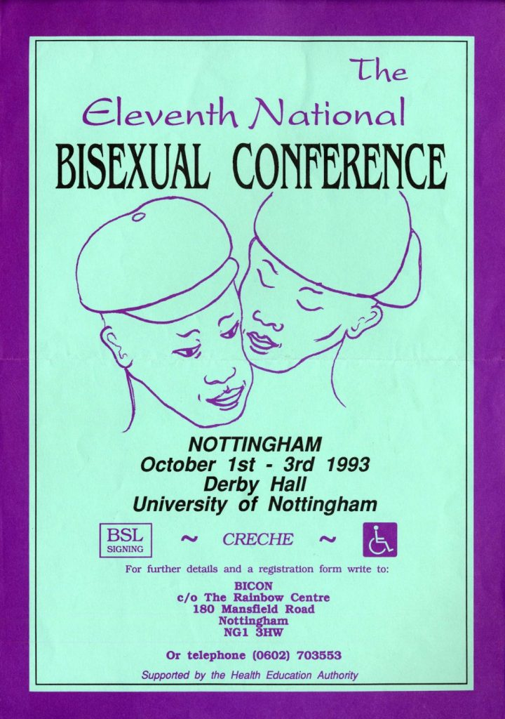 11th National Bisexual Conference (BiCon 11) flyer - text plus two androgynous faces